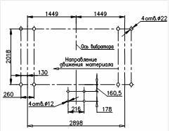 План расположения отверстий под фундаментные болты c установочной рамой