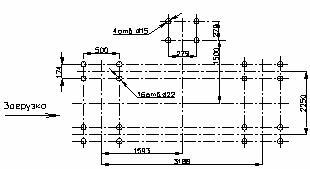 План расположения отверстий под фундаментные болты при угле наклона короба 15°