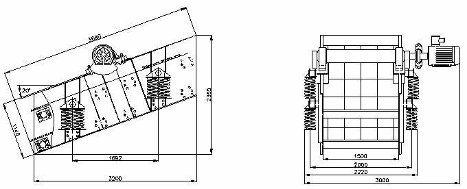 Габаритный чертеж грохота  ГВи-4,5х2-М (Грохот ГИТ 42)
