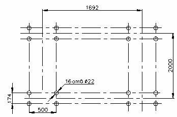 План расположения отверстий под фундаментные болты при угле наклона грохота 20°