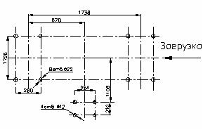 План расположения отверстий под фундаментные при угле наклона короба 15°
